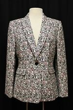 womens pink black beige floral TAHARI blazer suit jacket career modern LARGE 12
