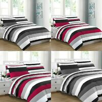 GREY STRIPE DUVET COVER BEDDING BED SET 100% COTTON 200TC DOUBLE SUPER KING SIZE