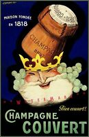 Champagne Couvert 1923 Vintage Poster Print Retro Style Wall Decoration Wine Art