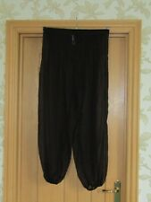 Ocean Club black sheer chiffon pleat front baggy trousers harem pants uk 10 vgc