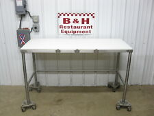 """60"""" x 24"""" Stainless Steel Butcher Cutting Board Poly Top Cut Work Table 5' x 2'"""