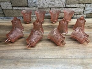 Lot of 12 Pink Hobnail  PEG Votive Cups Candle Holders