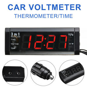 12V 3 In 1 Auto KFZ LED Digital Voltmeter Thermometer Uhr Clock Anzeige