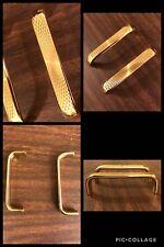2 Handles Pulls Brass Tone Cabinet Drawer Bin Mid Century Bar Textured Vintage