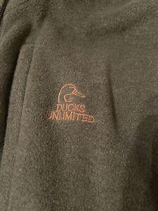 Ducks Unlimited Mens Fleece Vest Jacket Full Zip Waistcoat Large L Outdoor Hunt