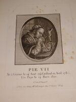 GRAVURE PORTRAIT PAPE PIE VII EPOQUE EMPIRE CESENA ITALIA PIO VII NAPOLEON 1805