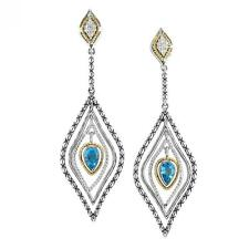 Andrea Candela 18k Gold & Sterling Diamond Blue Topaz Cable Earring ACE325/11-BT