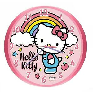 Licensed Hello Kitty Wall Clock Unisex Kids Xmas Gift Analog Time Learning 3+Yrs
