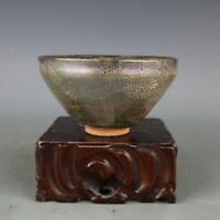 Chinese old antique Porcelain Song jian kiln fambe snake speckle jianzhan bowl