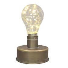 Miniature Industrial Style Battery Operated LED Bulb Light Bronze Distressed