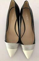 Nine West Women's size 10M Shoes Black Ivory Silver Front  Detail Kitten Heel