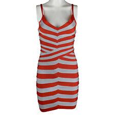 HERVE LEGER Orange Grey Stripe Bandage Elastic Andreea Dress XS