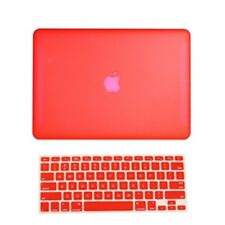 """2 in 1 Rubberized RED Hard Case for Macbook White 13"""" A1342 with Keyboard Cover"""