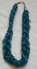 Blue Braided Glass Seed Bead Necklace statement tribal style