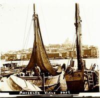 Francia Marsiglia Vecchio Port Ca 1910, Foto Stereo Placca Lente VR4L6