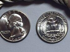 LOT(1 Coin) 1947-S GEM BU WASHINGTON SILVER QUARTER FROM ORIGINAL ROLL SHARP