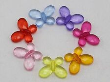 100 Mixed Colour Transparent Acrylic Faceted Butterfly Beads Charms 17X13mm