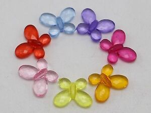"""100 Mixed Colour Transparent Acrylic Faceted Butterfly Beads 17X13mm(0.67""""X0.5"""")"""