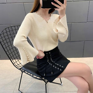 Womens Korean Fashion Beads V Neck Long Flare Sleeves Knitted Sweater Loose Tops