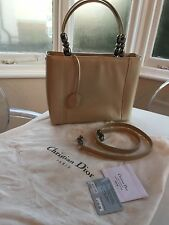 Dior Lady Malice Maris Patent Leather Tote Bag In Beige and Pewter