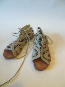 WOMENS STEVE MADDEN TAUPE LEATHER GLADIATOR LACE UP SANDALS SIZE 9 *