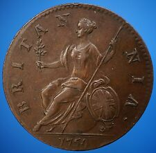 1754 UK Great Britain Half Penny KM# 579.2  George II Halfpenny EF Details