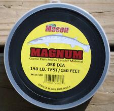 FREE USA SHIPPING...MASON MAGNUM BIG GAME CLEAR MONO LEADER MATERIAL 150 LB