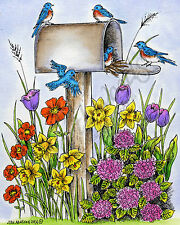 Spring Mailbox Blue Birds Flowers Wood Mounted Rubber Stamp NORTHWOODS P9494 New