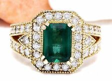 3.59 Carat Natural Emerald 14K Solid Yellow Gold Luxury Diamond Ring