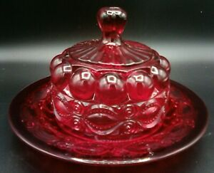 LG Wright Ruby Red Glass EYEWINKER Butter Dish Covered