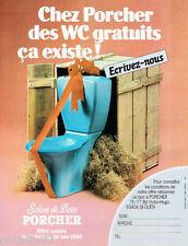 PUBLICITE ADVERTISING 115  1984  les salons de bains wc de PORCHER