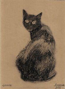 original drawing A4 122PK art by samovar Pastel modern animal black cat Signed
