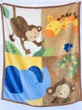 Kids Line Monkey Elephant Giraffe Bird Squares Fleece Blanket Throw Brown Trim