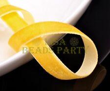 "New 10yards 3/8"" 10mm Velvet Ribbon Bows Wedding Party Decoration Sew Yellow"
