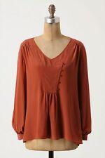Anthropologie Lil Slung Silk Blouse rust orange peasant top buttons sz 2