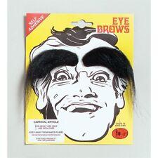 Black Bushy Stick-on Eyebrows - Fancy Dress Steptoes White Grey Brown Mens