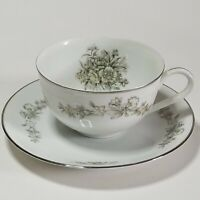 Vintage/Antique Kira China Japan Teacup & Saucer Set Whine w/Gray Floral Daisy