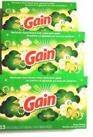 3 x GAIN Original Fabric Softener Dryer Sheets 45 Total Sheets Lasting Scent