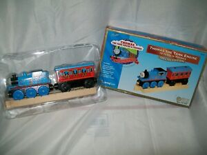 LIMITED EDITION THOMAS & FRIENDS WOODEN RAILWAYS TANK ENGINE & PASSENGER CAR