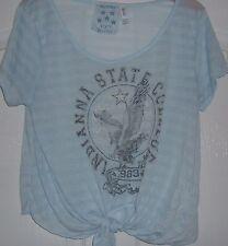 Taille 14 Denim Co (PRIMARK) chemise bleu à nouer sur le devant et Indianna State College