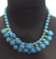 VINTAGE GENUINE LUCITE TURQUOISE  BEADED NECKLACE W/ GOLD TONE ACCENT