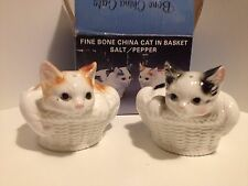 VINTAGE FINE BONE CHINA RON GORDON CATS IN A BASKET SALT & PEPPER SHAKERS