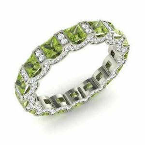 3.88 Carat Real Diamond Peridot Gemstone Bands 14K Solid White Gold Bridal Rings