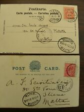 MALTA - POSTMAN'S HANDSTAMP PHS 18 TYPE A, 1903 FROM ENGLAND & SWITZERLAND