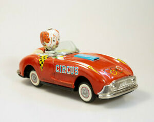 "1950's CRAGSTAN JAPAN OLYMPIC CIRCUS CAR/CLOWN TIN LITHO FRICTION TOY 7.5"""