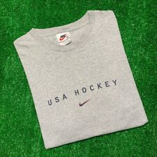 Men's Vintage 90's Nike Team USA Hockey Olympics Heather Gray T Shirt Tee Sz Med