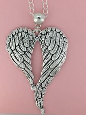 """Large Angel WINGS Feather Heart Shape Protection Pendant 30"""" Silver Plated Chain"""