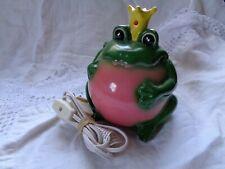 Vintage Giftco Ceramic FROG PRINCE King NIGHTLIGHT Lamp