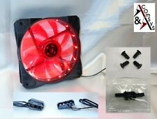 PC Gehäuse Lüfter 12cm 120mm 120x120x25mm DC 12V Leiser Kühler 15 LED Acryl Rot