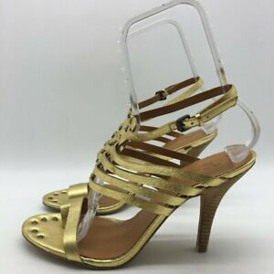 Vintage America Gold Heels Shoes 9.5